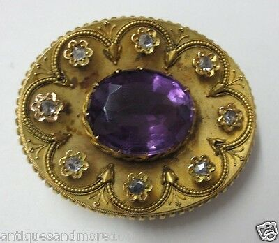 Antique Large Solid Gold Mourning Brooch with Large Oval Cut Amethyst & Diamonds