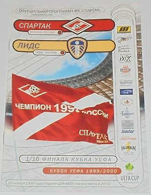 SPARTAK MOSCOW - LEEDS UNITED 1999 official programme UEFA CUP POSTPONED MATCH