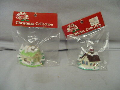 "Christmas Tree Ornament 2 House & School Ceramic Cost Plus Taiwan 2.25"" Tall MIP"