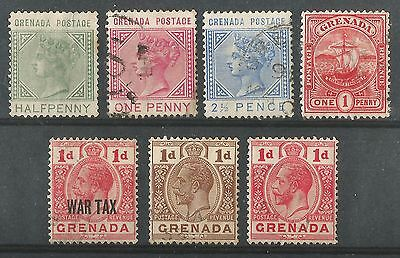 Grenada 1883-1916 VFU/LH SG30/-/111 QV KGV selection of perfectly used issues