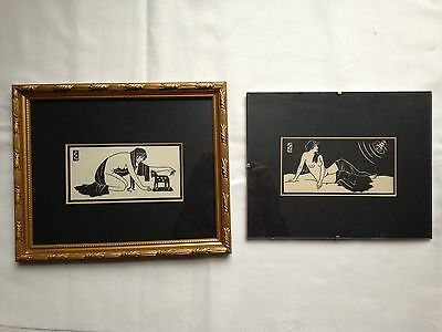 Two Antique prints by Edmondo Lucchesi for 'Ten Tales from the Decameron' 1937