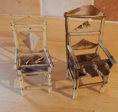 Two Napoleonic Prisoner Of War Miniature Feather Quill Chairs