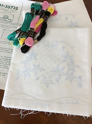 2 Vtg Lee Ward's Pillow Cases to Embroider & Crochet Hem Stitched Pillow Tubing