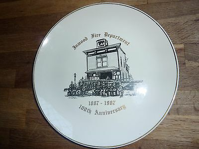 Sunset Advertising , Inwood Fire Dept 1887-1987 Anniversary 25.7 Cm China Plate