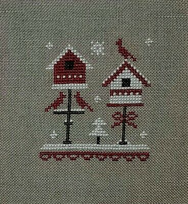 Completed Cross Stitch Christmas Ornament Holiday Little Red Stitcher Birdhouse