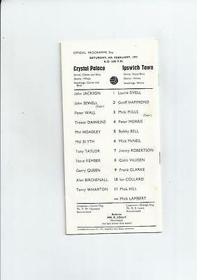 Crystal Palace v Ipswich Town Football Programme 1970/71