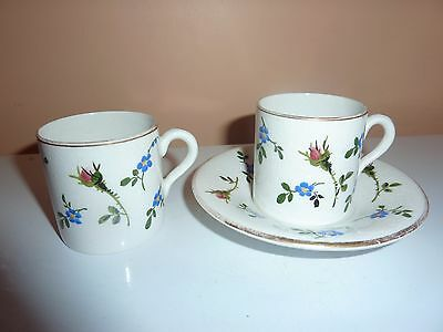 Two 5.4Cmhigh Coffee Can,1,11.8Cm Diam Saucer With H/p Flowers/leaves By Plichta