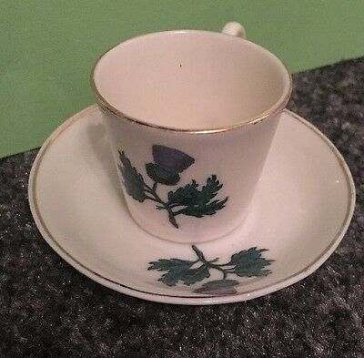 Rare W.h Goss Crested China Miniature Cute Scottish Thistle Cup Mug & Saucer