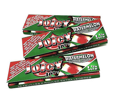 Juicy Jay's Watermelon flavored rolling papers 1 1/4 Size 3 Packs 32 ea Bundle