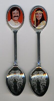 Sonny and Cher 2 Silver Plated Spoons Featuring Sonny & Cher