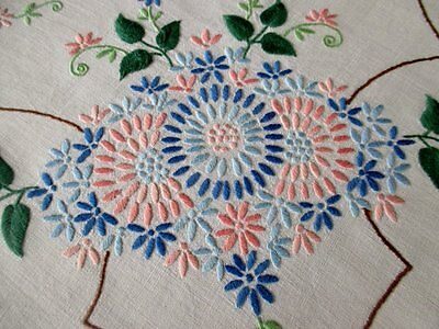 VINTAGE TABLECLOTH HAND EMBROIDERED with PINK & BLUE FLOWERS
