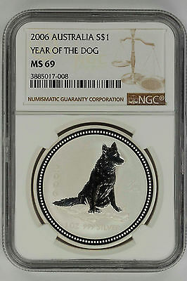 2006 Australia Silver Lunar Series 1 $1 Year of the Dog NGC MS-69 -144061