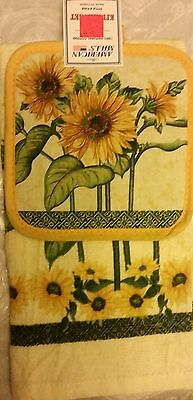 RARE 2 pc Set PRINTED Kitchen Pot Holder & Towel, SUNFLOWERS, with yellow back