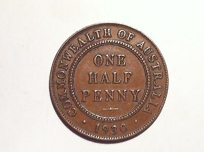 1930 Australian halfpenny 6 pearls and central diamond