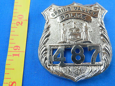 Vintage Spring Valley Police New York Silvertone Badge -Free Us Shipping