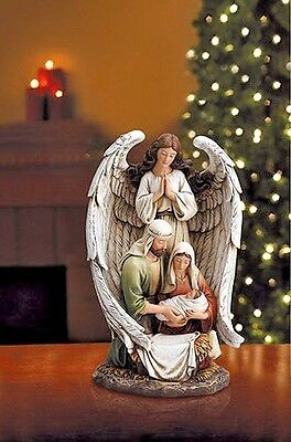 YC470 Nativity Resin Guardian Angel with Holy Family Jesus Mary 10 inch tall