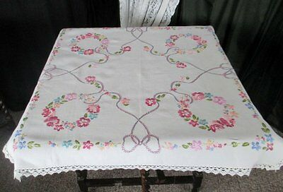 VINTAGE TABLECLOTH HAND EMBROIDERED with COLOURFUL FLOWERS