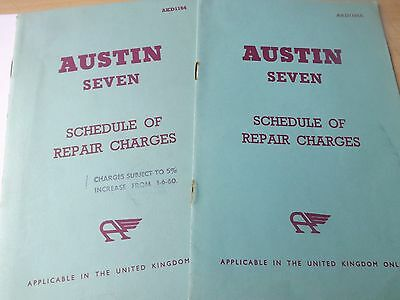 1959-60 Austin Seven Scedule of repair charges UK 2 editions