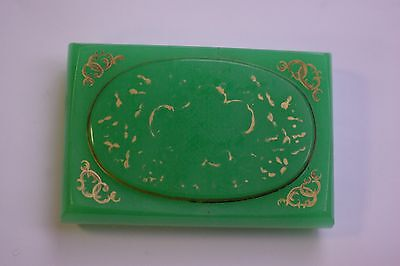 Antique French Etched Vaseline Green Glass Paperweight with Crest