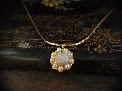 Vintage Fire Opal and Seed Pearl Necklace Pendant Gold Plated