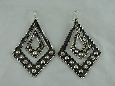 Vintage Large Mexico Sterling Heavy Earrings