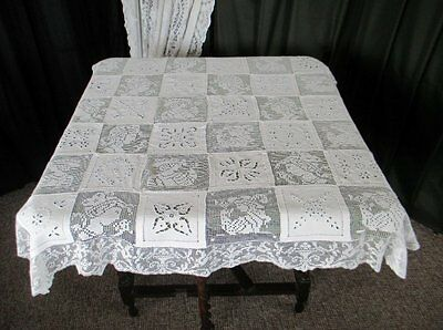 ANTIQUE TABLECLOTH-HAND EMBROIDERED with FILET LACE