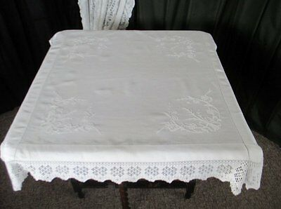 ANTIQUE TABLECLOTH HAND EMBROIDERY with HAND CROCHET EDGE-LINEN