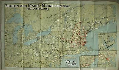 "Vintage Railroad  Map Boston & Main RR 1940's 24"" x 44"""