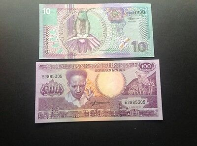 Two banknotes from Suriname.