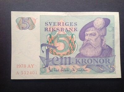 Sweden banknote for 5 Kronor dated 1978.
