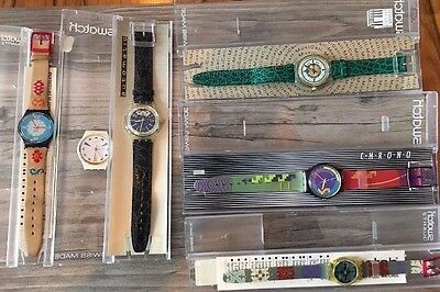 Swatch Watches Lot of 5 Complete 1980s Swiss Made and 1 Swatch Without Wristband