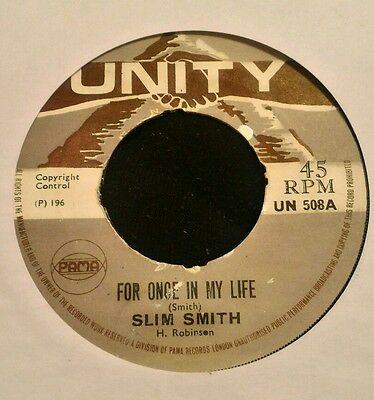 Slim Smith For Once In My Life Pama (Unity) Ska Rocksteady Soul