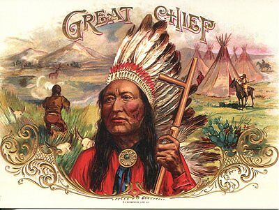 Postcard Of Vintage Advertising For Great Chief Cigars