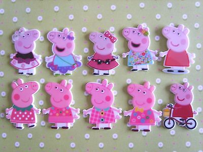 10 x Mixed PEPPA PIG Flatback Planar Resin, Embellishment, Crafts, Hair bow -UK-