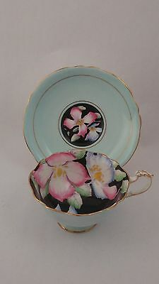 Rare Handpainted Paragon A7655 Cup & Saucer Featuring Blue and Pink Irises