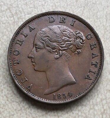 GB 1854 Queen Victoria Young Head Copper Halfpenny - Beautiful Chocolate Colour