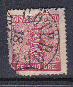 Sweden 1858 SG11b 50ore Used Cat £110 See Image