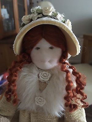 Vintage Artist TA? Unique Textile Cloth Extremely Well Made Ginger Haired  Doll