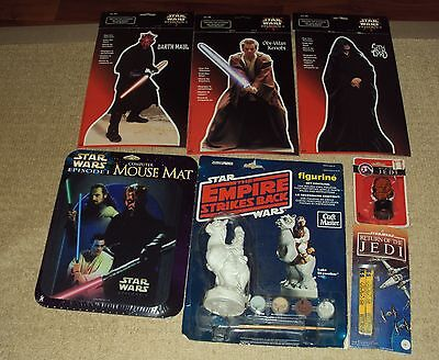 7 Star Wars Items Lot, Shoelaces, Stamp, Mouse Mat, Standees, Paint