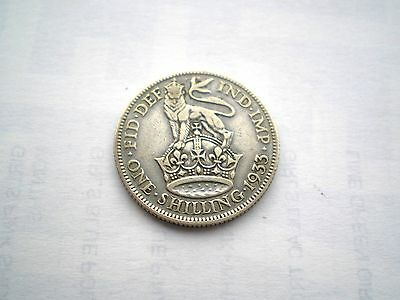 EARLY - GEORGE V- SILVER 1 SHILLING COIN FROM THE UK DATED-1933 nice