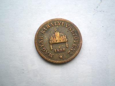 Early Hard To Find -2 Filler Coin From Hungary-Dated 1898-Nice