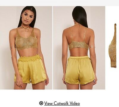 Bnwt Pretty Little Thing High Waist Frill embellished Shorts Size 6 8