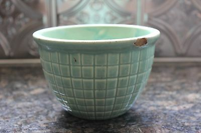 Vintage Robinson Ransbottom RRP CO Roseville OH Teal Green Pot Beehive Pattern