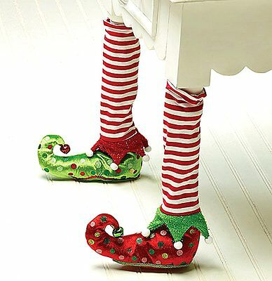 Elf Stockings and Slippers Christmas Chair Leg Covers-Set of 2