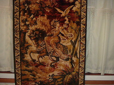Gorgeous Vintage Victorian Tapestry/lady ,horse, Castle-In Earthtones
