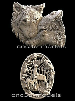 3D Model STL for CNC Router Carving Artcam Aspire Wolf Animal Tree Moon D108