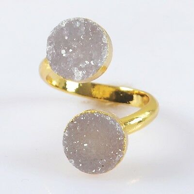 Size 6.5 Natural Agate Druzy Geode Adjustable Ring Gold Plated B027933