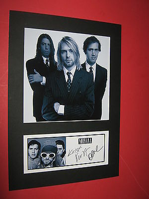 Nirvana  A4 Photo Mount Signed Pre-Printed  Kurt Cobain Dave Grohl Ticket Cd