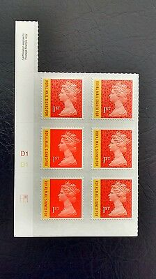 2016 M16L Royal Mail signed for Machin Cylinder Block of 6