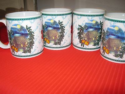 "Vintage HILO HATTIE ""Island Hut"" White Stoneware Coffee Tea Mugs Cups - (4)"
